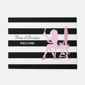 Chic Pink Glitz Girl Black Stripes Hair Boutique Doormat