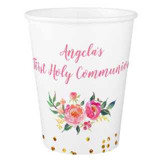 Chic Pink Gold Floral Party Paper Cups