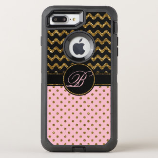 Chic Pink Gold Glitter Black Chevron With Monogram OtterBox Defender iPhone 8 Plus/7 Plus Case