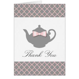 Chic Pink + Gray Teapot Trellis Thank You Card