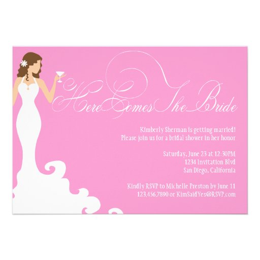 Chic Pink Here Comes the Bride Shower Invite