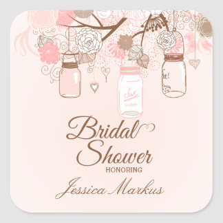 Chic pink mason jar floral bridal shower stickers
