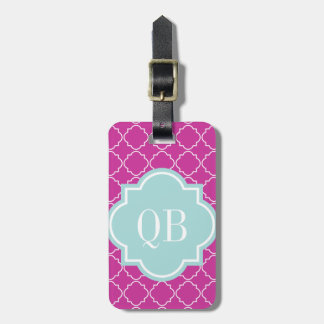 Chic pink moroccan lattice pattern luggage tag