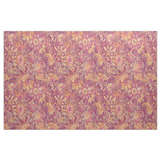 Chic Pink Orange Purple Floral Paisley Pattern Fabric
