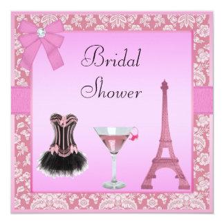 Chic Pink Paris Damask Corset Bridal Shower Personalized Announcement