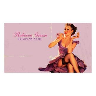 chic pink pin up girl  beauty salon makeup artist pack of standard business cards