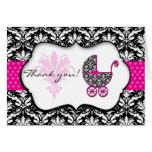 Chic Pink Polka Dot Damask Baby Shower Thank You