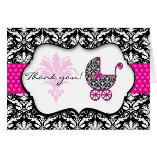 Chic Pink Polka Dot Damask Baby Shower Thank You Card