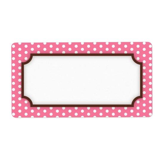 Chic pink polka dot dots pattern blank label