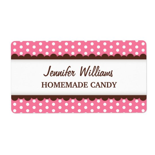 Chic pink polka dot dots pattern canning jar label