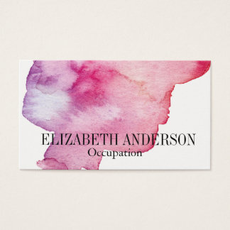 Chic Pink & Purple Hand Painted Watercolor Effect Business Card