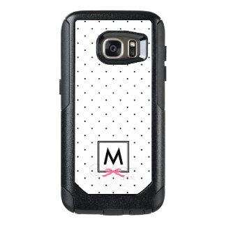 Chic Pink Ribbon Polka Dot Pattern Monogram OtterBox Samsung Galaxy S7 Case