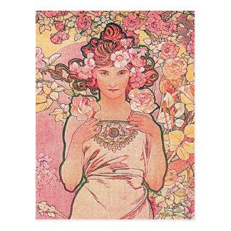 Chic Pink Rose Flower Girl Elegant Postcard