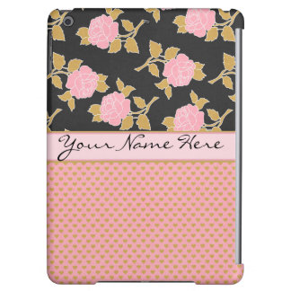 Chic Pink Roses and Gold Leaves on Hearts iPad Air Case