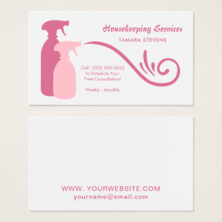 Chic Pink Spray Bottles Housekeeping Services Business Card