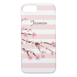 Chic, Pink Striped Cherry Blossom Flower Pattern iPhone 8/7 Case