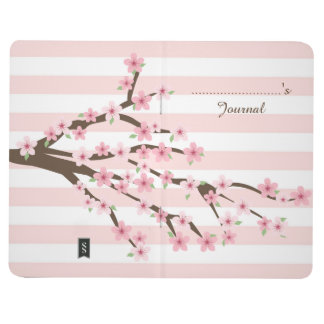 Chic, Pink Striped Cherry Blossom Flower Pattern Journal