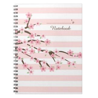 Chic, Pink Striped Cherry Blossom Flower Pattern Notebook