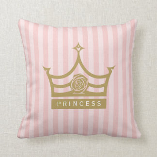 Chic Pink Stripes and Gold Rose Princess Crown Throw Cushions