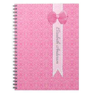 Chic Pink Vintage Damask Pattern With Cute Bow Spiral Note Book