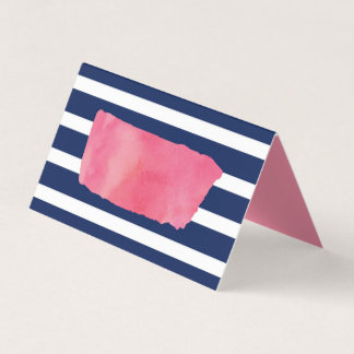 Chic Pink Watercolor and Blue Stripes Place Card