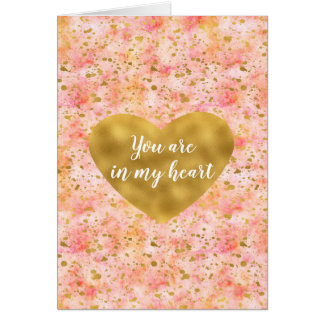 Chic Pink Watercolor Gold Confetti Heart Card