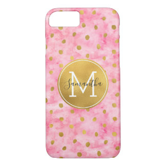 Chic Pink Watercolor Gold Confetti Monogram iPhone 8/7 Case