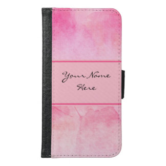 Chic Pink Watercolor Splash with Name Samsung Galaxy S6 Wallet Case