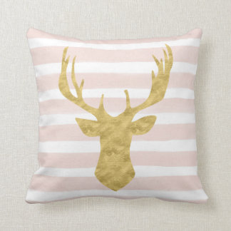 Chic Pink Watercolor Stripes Gold Deer Head Throw Cushions