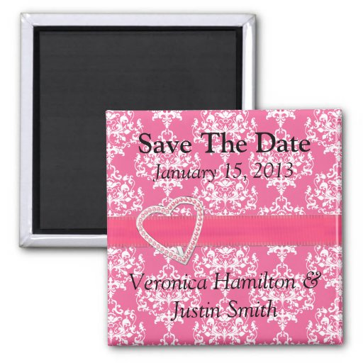 Chic Pink Wedding Save the Date Magnet