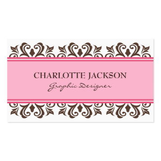 Chic pink, white and brown damask profile cards business card templates