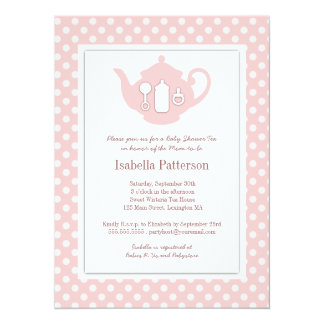 Chic Pink | White Teapot Baby Shower Tea Party 14 Cm X 19 Cm Invitation Card