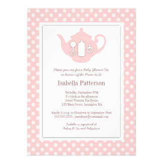 Chic Pink White Teapot Baby Shower Tea Party Personalized Announcement