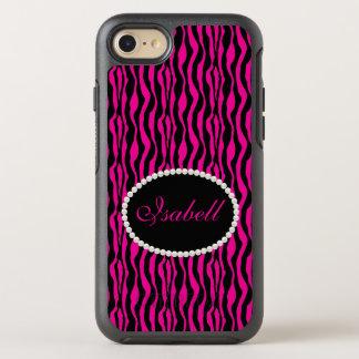 Chic Pink Zebra Print Monogram Case