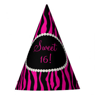 Chic Pink Zebra Print Pearls Sweet 16 Party Hats
