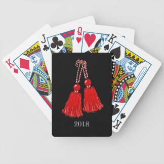 CHIC PLAYING CARDS_2018 RED TASSELS ON BLACK_DIY BICYCLE PLAYING CARDS