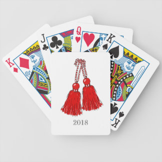 CHIC PLAYING CARDS_2018 RED TASSELS ON WHITE_DIY BICYCLE PLAYING CARDS