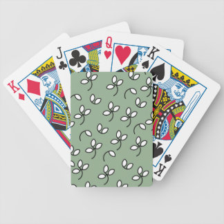CHIC PLAYING CARDS_ 390 GREEN/WHITE FLORAL POKER CARDS