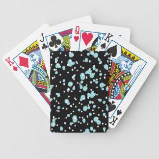CHIC PLAYING CARDS_AQUA/WHITE DOTS ON BLACK POKER DECK