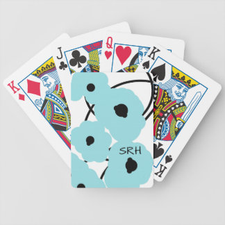 CHIC PLAYING CARDS_MOD AQUA & BLACK POPPIES BICYCLE PLAYING CARDS
