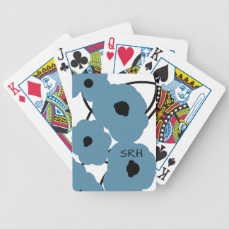 CHIC PLAYING CARDS_MOD BLUE & BLACK POPPIES POKER DECK