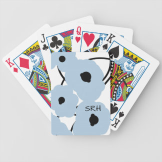 CHIC PLAYING CARDS_MOD SOFT BLUE & BLACK POPPIES POKER DECK