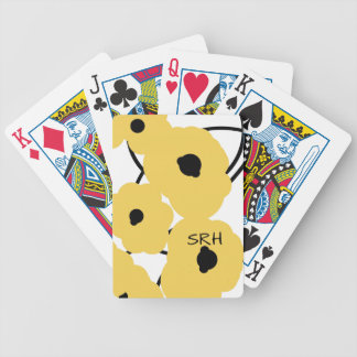 CHIC PLAYING CARDS_MOD YELLOW & BLACK POPPIES BICYCLE PLAYING CARDS