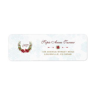 Chic Poinsettia Winter Wreath Snowflakes Wedding Return Address Label