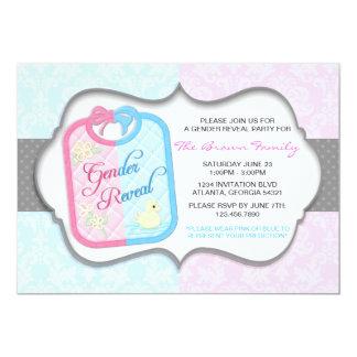 Chic Polka Dot Damask Baby Bib Gender Reveal Card