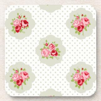 chic polka dot teal red floral white vintage pink drink coasters