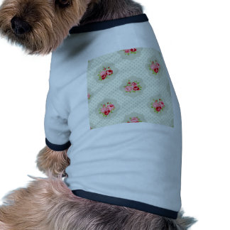 chic polka dot teal red floral white vintage pink doggie tee