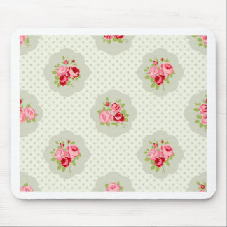 chic polka dot teal red floral white vintage pink mouse pads