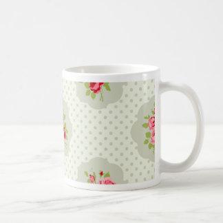 chic polka dot teal red floral white vintage pink coffee mug