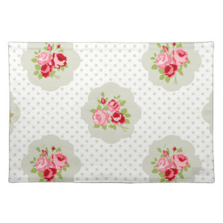 chic polka dot teal red floral white vintage pink place mat